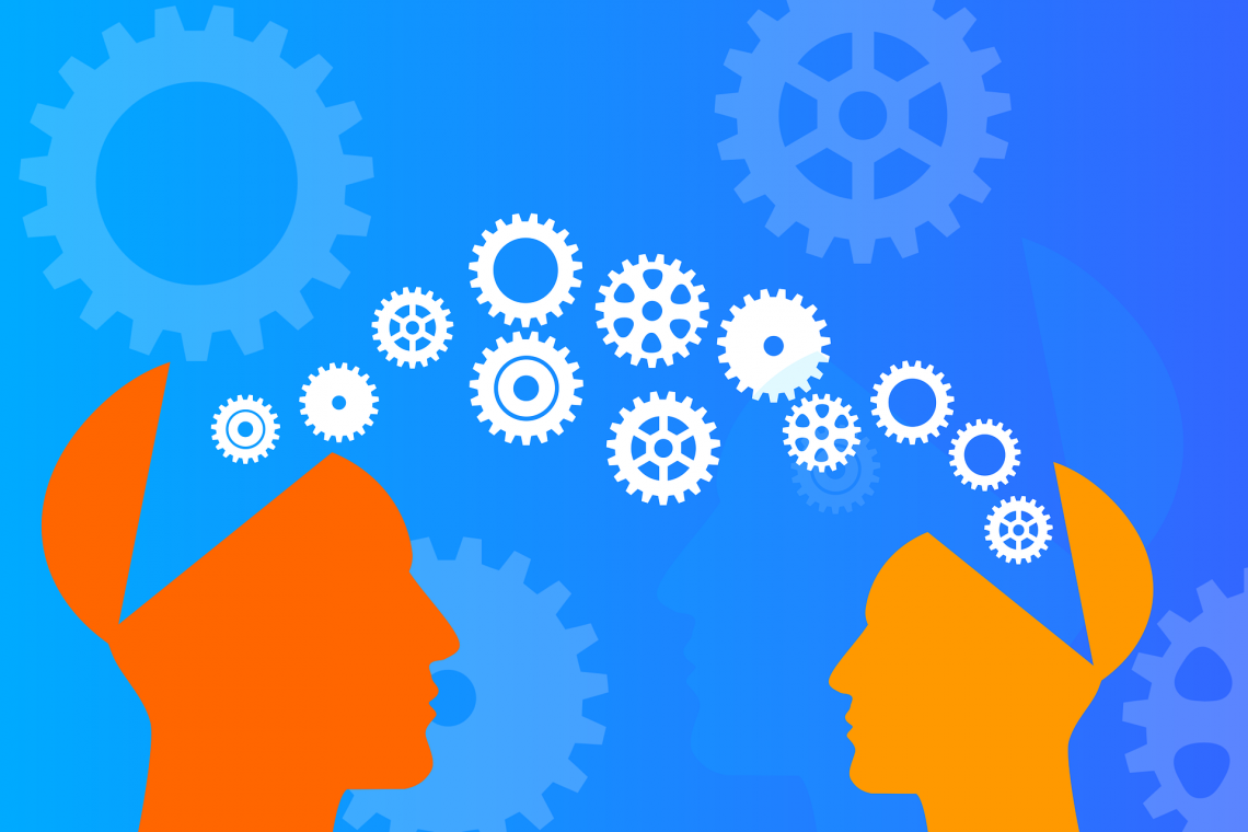 Grafika przedstawiająca osobę przekazującą wiedzę innej osobie